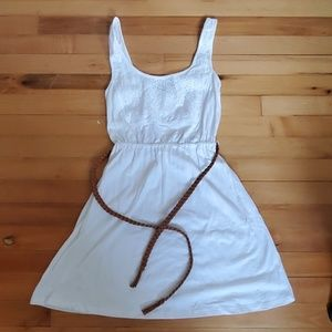 White dress with belt
